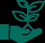 icona pianta su mano